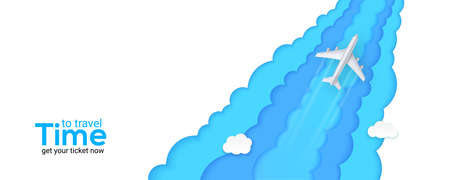 Silver passenger plane flies above the clouds. Time to travel. Blue sky carved from multi layered paper. Realistic airplane and background cut out of paper. Vector 3d illustration, EPS10.