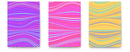 Set of posters with multi colored stripes. Wavy uneven surface like flag or water. Minimalistic design from lines, two-tone undulating backgrounds. Abstract distorted pattern. 3d vector illustration. Ilustração