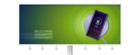Billboard with infographics of wireless charging technology. Battery icon and progress charging the battery of the phone lighting on screen of smartphone. 3d vector illustration, EPS10.