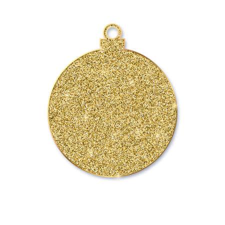 Golden Christmas ball isolated on white background. Christmas ball in luxury style with glittering golden dust. 3d vector illustration, EPS10 Ilustração