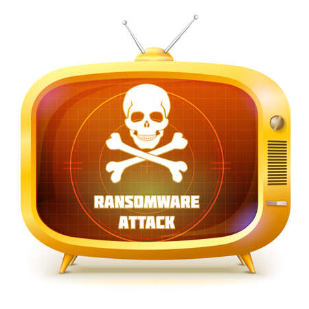 Yellow retro TV with alert about ransomware attack isolated on white background. White skull and crossbones on screen of TV. Symbol of hackers attack on your information. Vector 3d illustration