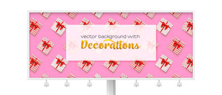 Billboard decorated present boxes on pink background, abstract pattern. Gift boxes with red ribbon and bow tie.