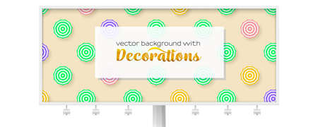 Billboard with sun umbrellas on yellow background. Sun umbrellas with green and pink pattern on summer sand. Template for banners, promotion and sales actions. Vector 3d illustration