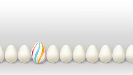 Different way for leader. Decorated egg stay in line with ordinary ones. Business concept with individual solutions. Creative view of situations for innovative solution. Vector 3d illustration