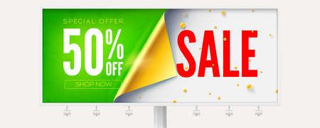 Sale 50 percent discount. Banner decorated golden curved corner of paper and pearls. Billboard with ad information isolated on white background. Vector 3d illustration