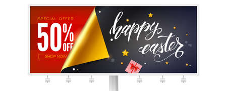 Sale 50 percent discount for happy Easter holidays. Billboard decorated golden curved corner of paper, holidays toys and hand written text. Vector 3d illustration 일러스트