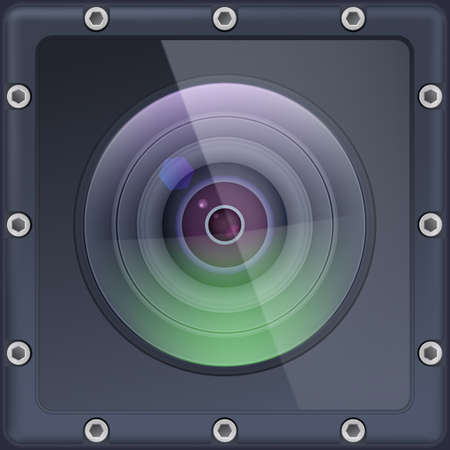 Camera lens with protection. Action camera in safe protective cover. Lens with reflex closeup. Vector 3d illustration