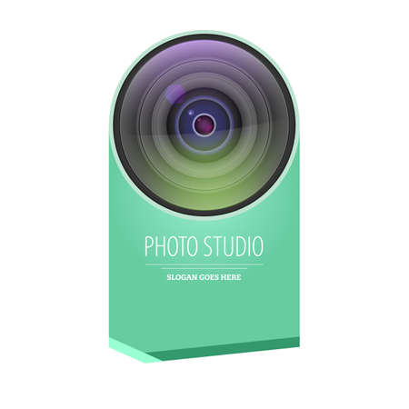 Photo studio  and business card template. Realistic lens camera with graphic element, template for photographer studio. Photo studio icon. Vector 3d illustration
