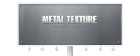 Billboard with metal plate bolted screws. Placard for ads with metal texture. Metallic sign with text. Vector 3d illustration