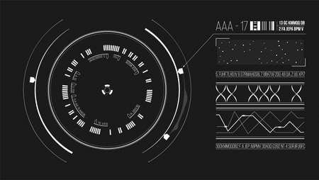 UI design interface. List of detected information and User interface HUD. Vector GUI with circular hologram. Sci-Fi virtual reality technology. EPS10 Ilustração