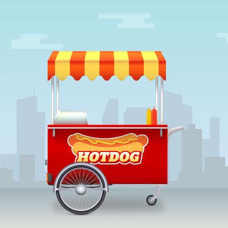 Realistic Hot dog cart. Street fast food market on big city backdrop. Template with kiosk of seller fast food. Trolley for outdoor service with hot dog logo. Vector 3d illustration
