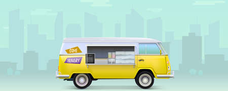 Fast food truck with equipment and bar counter. Old fashioned van on city silhouettes backdrop. Realistic car street food service. Traveling market. Icon of vehicle. Vector 3d illustration 版權商用圖片 - 143531433