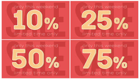 Sale banner. Set of template with reduction of prices. Discount with limited time. Design of vector stickers.
