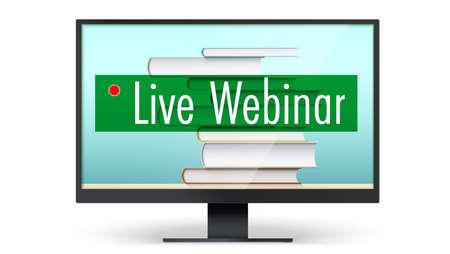 Live webinar concept. Educational training program on internet. Computer monitor with stack of books. Template for online education, website header. Vector 3d illustration.