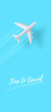 Silver plane is flying on clear blue sky. Time to travel. Vector template for smartphone X sizes. Phone UI. Vectores