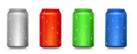 Set of realistic colored cans isolated on white. Tins for beverages with condensate. Drops of water on metal jars. Vector 3d illustration
