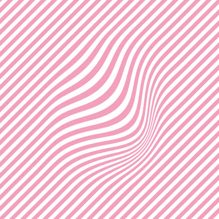 Curved wavy lines. Pink pattern with flowing stripes. Optical minimalistic background. Template of vector design Vektorové ilustrace