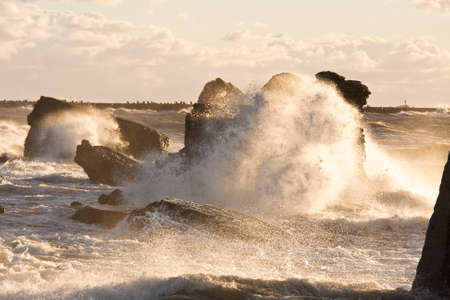 stormy sea: stormy sea in sunset