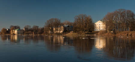 flooding: sprintime flooding with ice Stock Photo