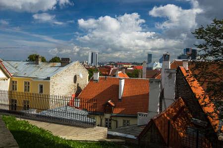 tallin: panoramic view on old tallin Editorial