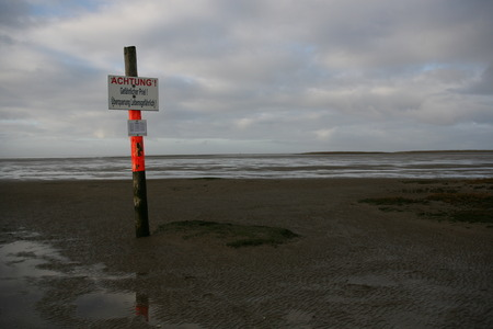 Nature protection zone in the Wadden Sea Stock Photo - 92845619