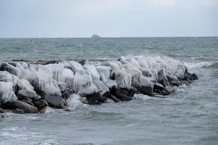Breakwater in ice