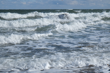 High waves on the Baltic Sea Stockfoto