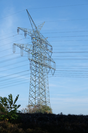 High voltage mast - Attention electric current Stockfoto - 111359084