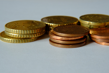 Various coins in EURO currency 스톡 콘텐츠