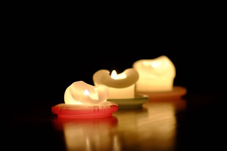 Burnt out candles give a romantic mood