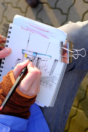 On a sketchpad, a drawing is created Stok Fotoğraf