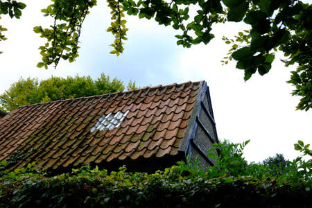 Stable building with old roof Standard-Bild