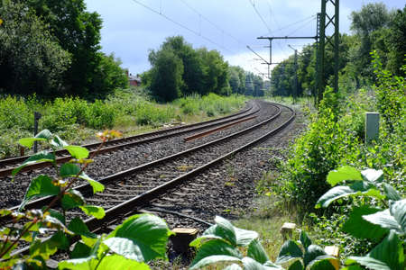 A track bed with electrical overhead lines