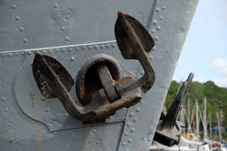 Anchor on the hull of a cargo ship Standard-Bild