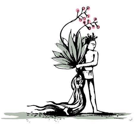 Mandrake - Man pulling female flower Illustration