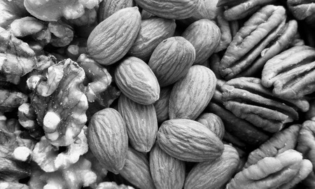 pecans: Black and white almonds, pecans, and walnuts arranged in stripes