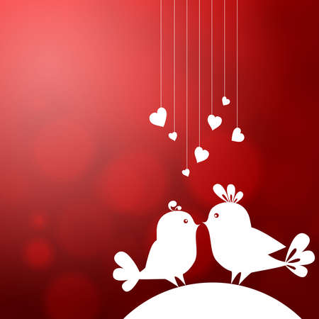 Soft abstract background with two birds in love
