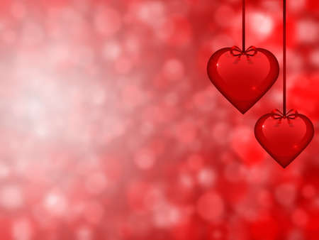 Valentines day background with two hearts in the foreground Stock Photo