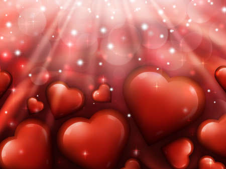 Valentines day background with red hearts in the foreground Stock Photo
