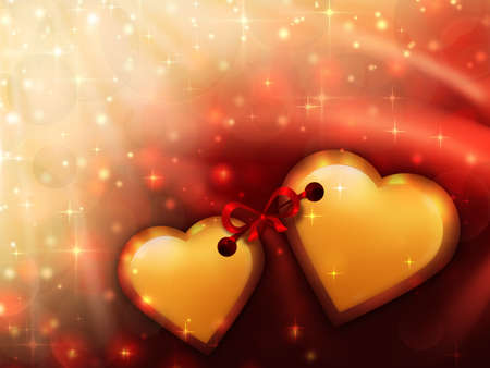 Valentines day background with two gold hearts in the foreground