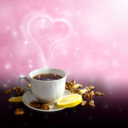 Cup of tea on a beautiful love background photo