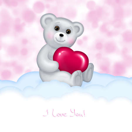 Hand getrokken Teddybeer met liefde hart Stockfoto