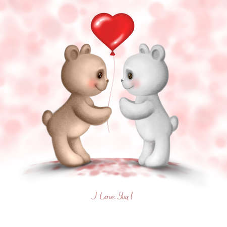 Two Teddy bears in love photo