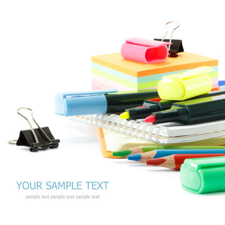 secondary school students: School supplies on white background