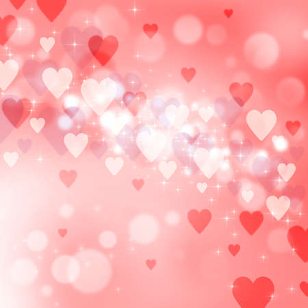 Valentines day background with many pink and red hearts