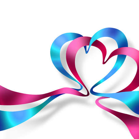 Two hearts made of colored ribbons isolated on white background