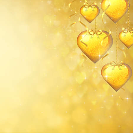 Soft gold background to the Valentine's day with many golden hearts and ribbons in the foreground photo