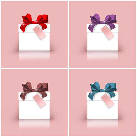 soft sell: Set of white gift boxes with colorful ribbons