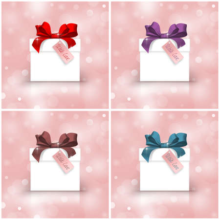 Set of white gift boxes with colorful ribbons