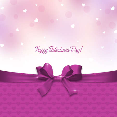 Valentines day card with pink ribbon and hearts